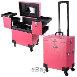 AW 4 Wheels Makeup Case Cosmetic Travel Train Rolling Trolley Lackable Storage