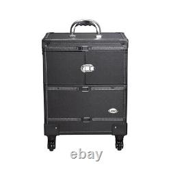 AW 4 Wheels Makeup Case Cosmetic Travel Train Rolling Trolley PVC Box with Lock