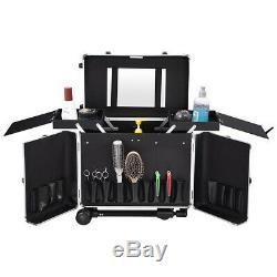 AW Large Capacity Hair Salon Stylist Rolling Makeup Train Case Aluminum Storage