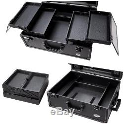 AW Makeup Trolley Rolling Cosmetic Hairdressing Train Case with Light & Mirror