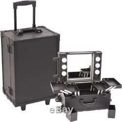All Black Leather-Like Professional Rolling Makeup Studio Case with Lights &