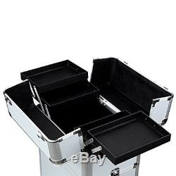Aluminum 2 Wheel Cosmetic Trolley Train Case with Large Storage Space Silver