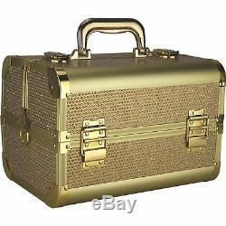 Aluminum Makeup Train Case Cosmetic Beauty Organizer Travel Storage Box Key Lock