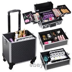 Aluminum Rolling Cosmetic Makeup Train Cases Trolley Professional Artist Organiz