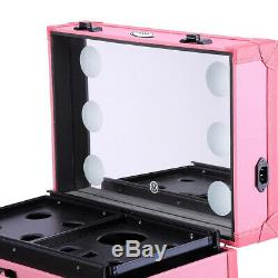 Aluminum Rolling Makeup Case Beauty Light Mirror Cosmetic Pink Christmas Gift