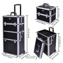 Aluminum Rolling Makeup Case Cosmetic Beauty Train Box Travel Storage Trolley