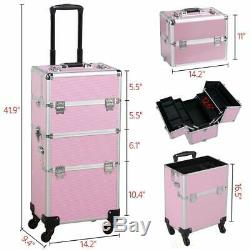 Aluminum Rolling Makeup Case Salon Cosmetic Organizer Trolley Train Case (Pink)