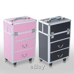 Aluminum Rolling Makeup Train Case Cosmetic Organizer Storage Box Lockable
