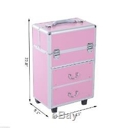 Aluminum Rolling Makeup Train Case Cosmetic Organizer Storage Box Lockable Pink