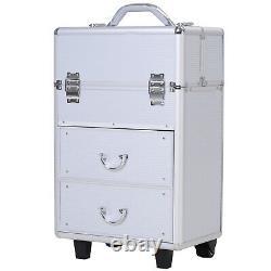 Aluminum Rolling Makeup Train Case Cosmetic Organizer Storage Box Silver
