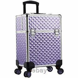 Aluminum Rolling Makeup Train Case Large Organizer Cosmetic Trolley 4 Purple