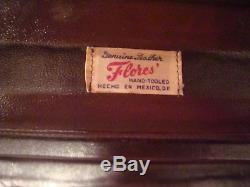 Amazing 1940's Hand Tooled Leather Train Make-up Case Flores' Mexico Very Nice