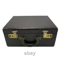 Antique Brown Faux Embossed Croc Leather Cosmetic Train Case Heisey Bottles Rare