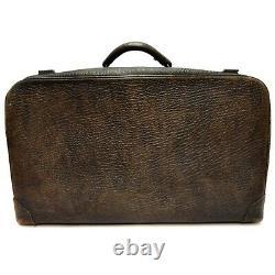 Antique Leather Suitcase Train Case Make-up Travel Attache Briefcase Brown P. O