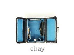 Antique Small Black MakeUp Train Case Handbag Mirror/Notepad/Lipstick Tube etc