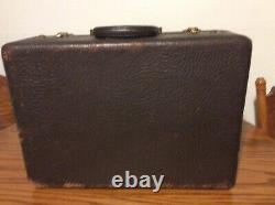 Antique WOOD LEATHER SUITCASE TRAIN CASE MAKE-UP ATTACHE BRIEFCASE Free Shipping
