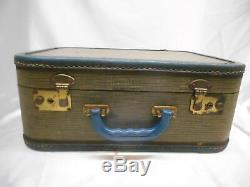 Antique WOOD SUITCASE MAKE-UP TRAIN CASE GARMENT TRAVEL DECOR OLD Vtg