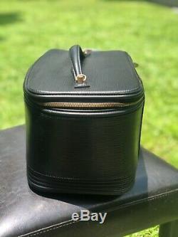 Authentic Louis Vuitton Black Epi Leather Nice-Vintage Black Train Case Cosmetic