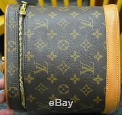 Authentic Louis Vuitton Monogram Vanity Makeup Bag Train Case Pouch Purse LARGE