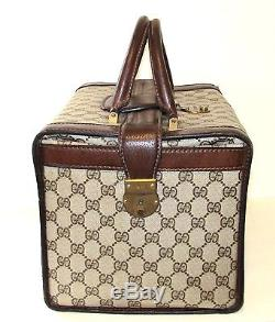 68399fe5c09 Authentic Vintage GUCCI Train Case Travel Cosmetic Bag Suitcase Carry On  Luggage