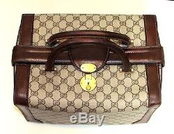 Authentic Vintage GUCCI Train Case Travel Cosmetic Bag Suitcase Carry On Luggage