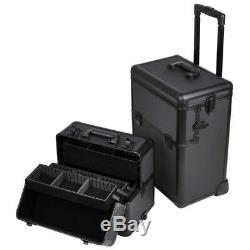 Aw 2In1 Black 38 Makeup Aluminum Rolling Cosmetic Train Case Hair Style Lockabl
