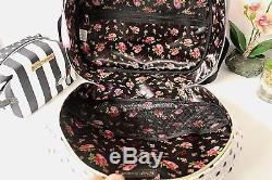 BETSEY JOHNSON WEEKENDER STRIPE TRAVEL large TRAIN CASE and COSMETIC BAG NWT