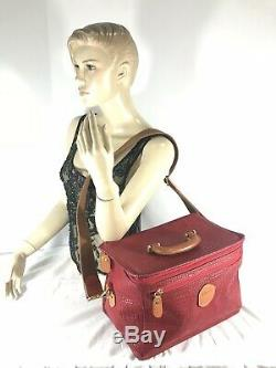 BRIC'S Red PVC and Tan Leather Trim Cosmetic Train Case Beauty Bag Made in Italy