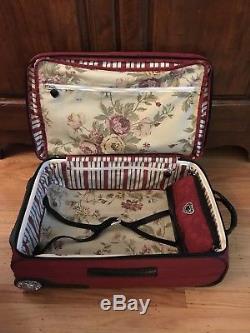 Brighton Luggage Set Red Black Rolling 22 Suitcase