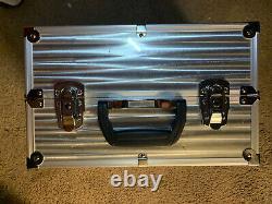 Beautiful Sephora Extra Large Silver Metal Train MAKEUP Case 14 X 10 X 9