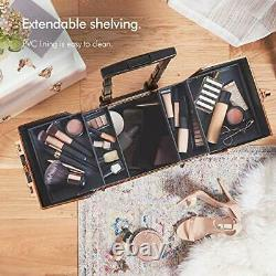 Beautify Beauty Makeup Train Case Travel Trolley Cosmetic Bag Rolling Organiz