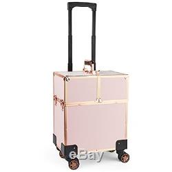 Beautify Rose Gold Beauty Train Case Trolley, Vanity Suitcase, Storage Organizer