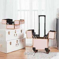Beauty Makeup Train Case Travel Trolley Cosmetic Bag Rolling Organizer Vanity