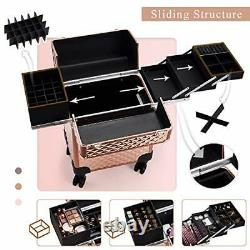 Beauty Rolling Makeup Train Case Cosmetic Trolley 4 Tray Sliding Rail Removab