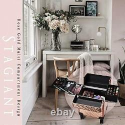 Beauty Rolling Makeup Train Case Cosmetic Trolley 4 Tray Sliding Rail Rose Gold