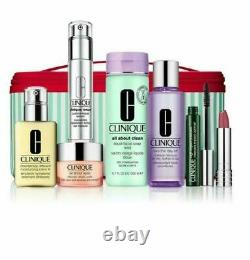 Best of Clinique 7 Full Size Gift Set & Train Case Skin Care Makeup Lipstick NEW