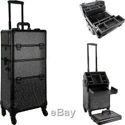 Black Crystal Rolling Train Makeup Case Organizer Cosmetic Case Trays Locks