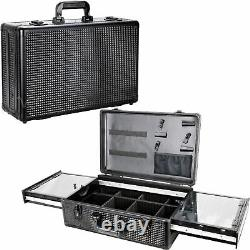 Black Ice Cube Professional Barber Portable Travel Case with Sliding Clipper