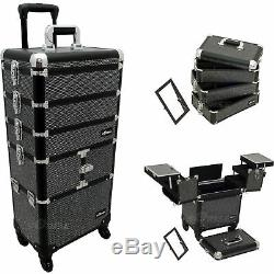 Black Krystal 3-Tiers Accordion Trays Professional Rolling Aluminum Cosmetic