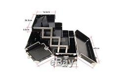 Black Makeup Box Train Case Large Size 3 Tray For Professional Nail Case