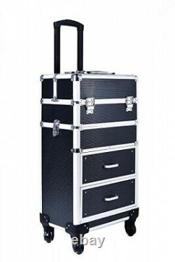 (Black) Rolling train case with drawers Makeup rolling train case Cosmetic