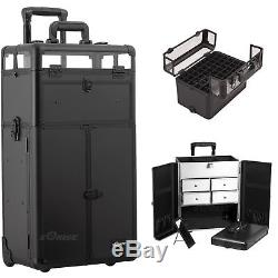 Black Smooth Professional Rolling Aluminum Cosmetic Makeup Case French Door S