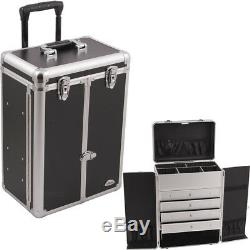 Black Smooth Professional Rolling Makeup Case with Drawers & French Door Open