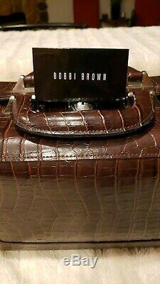 Bobbi Brown Makeup Train Case with Handle Brown Faux Croc