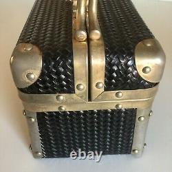 Borsa Bella Box Train Case Storage Travel Make Up Woven Black Brass Italy Vintag
