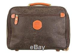 Brics Brown Leather Suede Train Case Travel Cosmetic Bag Topper Carry-On Luggage