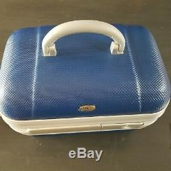 Brics Royal Blue Train Hard Shell Case Luggage Makeup Travel Carry On 14x10x8