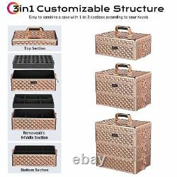 Byootique 3in1 Makeup Train Case Rose Gold Hand Carry Cosmetic Organizer Storage