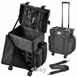 Byootique 4 Wheel Trolley Rolling Makeup Train Case with Cosmetic Backpack Bag