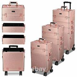 Byootique 4 in1 Aluminum Rolling Makeup Train Case Wheel Cosmetic Box Storage